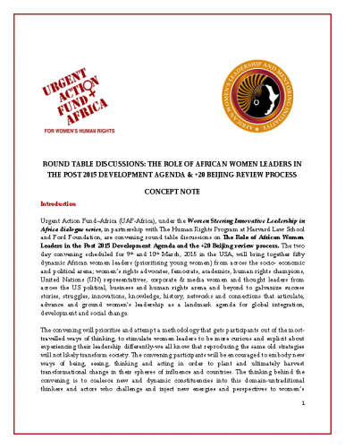 The Role Of African Women Leaders In The Post 2015 Development Agenda & +20 Beijing Review Process