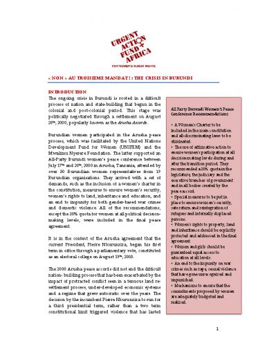 UAF Africa Burundi Brief